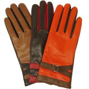 手袋 レディース 防寒 革 皮 てぶくろ あったか 暖かい レザー ウール 革手袋 皮手袋 本革 バイカラー イタリア AntonioMurolo|carron