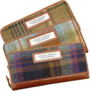 ラウンドファスナー長財布 レディース レディス タータンチェック柄 本革レザー Lochcarron of Scotland 本革 財布 ブランド brand|carron