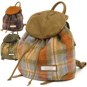 リュックサック レディース おしゃれ ママ レザー ミニ タータンチェックツイード バックパック Lochcarron of Scotland|carron