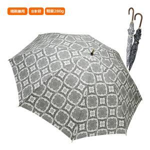 晴雨兼用傘 日傘 レディース レディス 長傘 ショート ペイズリー風レース柄 プリント ウッドハンドル Nouvel Japonais 全2色|carron