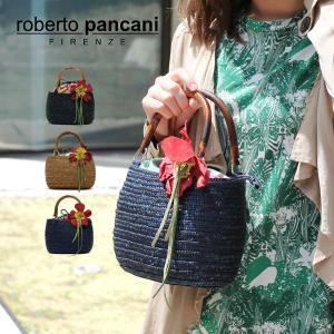 ミニかごバッグ レディース レディス ハンドバッグ 軽量 ストロー バンブーハンドル トロピカル コサージュ イタリアブランド roberto pancani リラ brand bag|carron