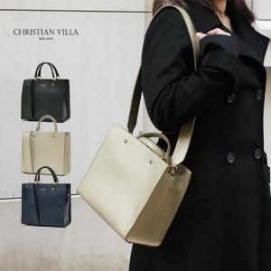 スクエアトートバッグ レディース 小さめ ハンドバッグ 本革レザー 2WAY ミニショルダーバッグ イタリアブランド CHRISTIAN VILLA brand レディス bag|carron