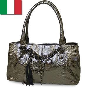 トートバッグ レディース レディス メタリック パイソン型押し 本革レザー イタリアブランド ROBERTA GANDOLFI ミカ brand bag|carron