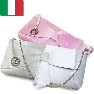 クラッチバッグ レディース レディス エナメルレザー 2WAY リボン ショルダーバッグ グラデーション パテント イタリア ROBERTA GANDOLFI フランカ bag|carron