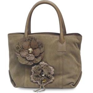 トートバッグ レディース レディス 柔らか ビジュー スエード ハンドバッグ 本革レザー フラワーモチーフ イタリアブランド ROBERTA GANDOLFI ダフネ brand bag|carron