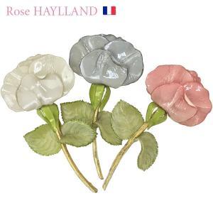 ナチュラルブローチ レディース フランスブランド スカーフ留め ピンブローチ ROSE HAYLLAND big rose|carron