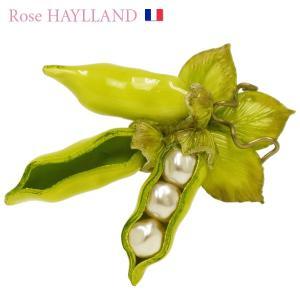 ナチュラルブローチ レディース フランスブランド スカーフ留め ピンブローチ プチビーンズ ROSE HAYLLAND beans petit|carron