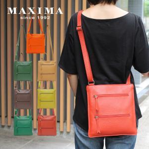 薄型ポシェットバッグ レディース 本革レザー イタリアブランド MAXIMA マルチポケット 斜め掛け エミリア