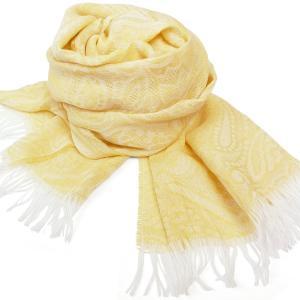 フリンジストール レディース レディス クリームイエロー ペイズリー織り模様 ビスコース イタリアブランド LANCIONI brand|carron