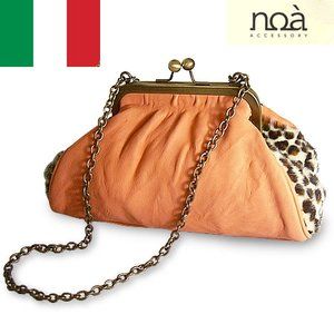 がま口ハンドバッグ レディース レディス チェーンバッグ レザー レオパード柄ハラコ イタリア ヴィオーラ bag|carron