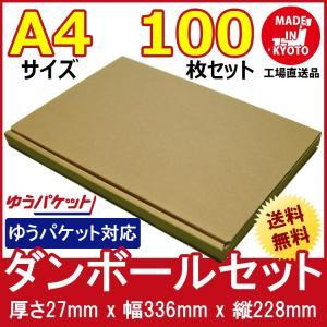 ゆうパケット対応 段ボール ダンボール 100枚セット 梱包用ダンボール 茶色 送料無料 外寸336x228x27mm 厚さ2mm 日本製 002-004 carton-box