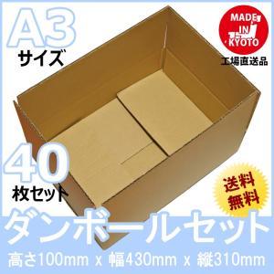 段ボール ダンボール 90サイズ A3対応 40枚セット 梱包用ダンボール 手穴あり 茶色 送料無料 外寸430x310x100mm 厚さ3mm 日本製 003-018|carton-box