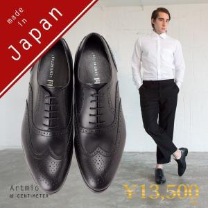 ビジネスシューズ 革靴 本革 メンズ ウイングチップ メダリオン 内羽根 結婚式 ビジネス 日本製 ヒール Artemio アルテミオ 送料無料|casadepaz