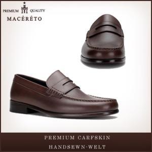 革靴 ローファー ダークブラウン ビジネスシューズ コイン Macereto|casadepaz