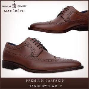 革靴 ウイングチップ レッドブラウン ビジネスシューズ 外羽根 Macereto|casadepaz