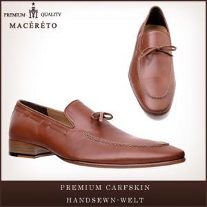 革靴 ローファー レッドブラウン ビジネスシューズ リボン Macereto|casadepaz