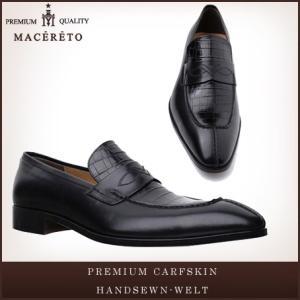 革靴 ローファー ブラック ビジネスシューズ コイン Macereto|casadepaz
