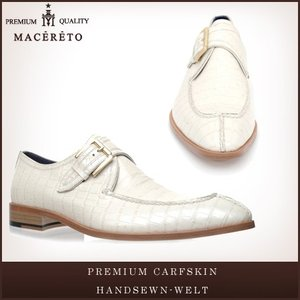 革靴 モンクストラップ ホワイト ビジネスシューズ シングルモンク Macereto|casadepaz