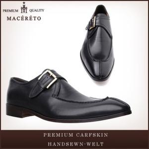 革靴 モンクストラップ ブラック ビジネスシューズ シングルモンク Macereto|casadepaz