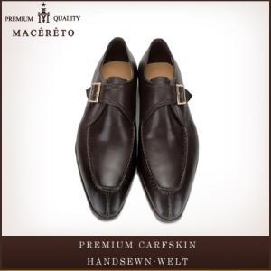 革靴 モンクストラップ ダークブラウン ビジネスシューズ シングルモンク Macereto|casadepaz