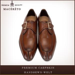 革靴 モンクストラップ レッドブラウン ビジネスシューズ シングルモンク Macereto|casadepaz