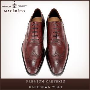 革靴 ウイングチップ レッドワイン ビジネスシューズ 内羽根 Macereto|casadepaz