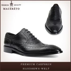 革靴 ウイングチップ ブラック ビジネスシューズ 内羽根 Macereto|casadepaz