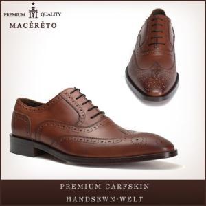 革靴 ウイングチップ レッドブラウン ビジネスシューズ 内羽根 Macereto|casadepaz