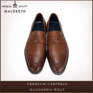 革靴 ローファー レッドブラウン ビジネスシューズ コイン Macereto|casadepaz