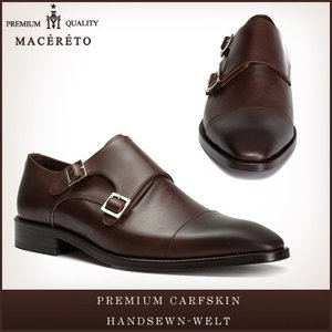 革靴 モンクストラップ ダークブラウン ビジネスシューズ ダブルモンク Macereto|casadepaz