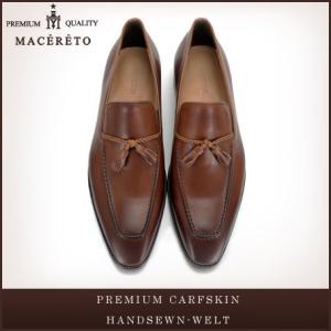 革靴 ローファー タンニングレッドブラウン ビジネスシューズ タッセル Macereto|casadepaz