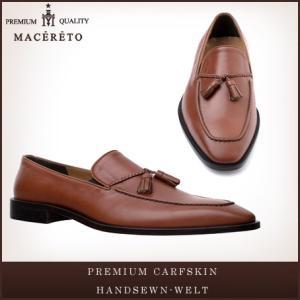 革靴 ローファー レッドブラウン ビジネスシューズ タッセル Macereto|casadepaz