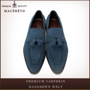 革靴 ローファー ブルー ビジネスシューズ タッセル Macereto|casadepaz