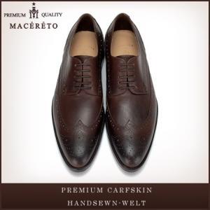 革靴 ウイングチップ ダークブラウン ビジネスシューズ 外羽根 Macereto|casadepaz