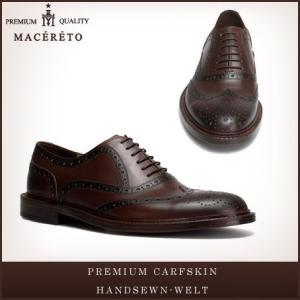 革靴 ウイングチップ ダークブラウン ビジネスシューズ 内羽根 Macereto|casadepaz