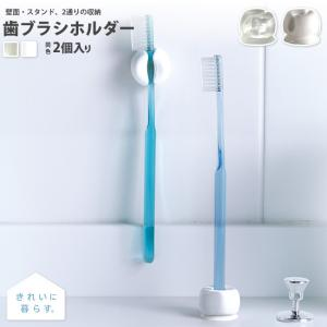 歯ブラシホルダー 吸盤 2個入 きれいに暮らすシリーズ MARNA マーナ 壁面・スタンド 2通りの...