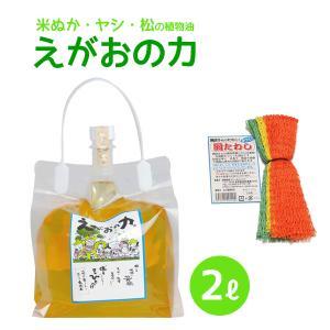 植物油由来成分からできたオーガニック多用途洗剤「えがおの力(旧松の力)」2L濃縮/ 網たわしセット