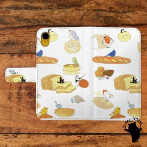 iphone8 ケース 手帳型 おしゃれ レディース カード アイフォン8 ケース おしゃれ 手帳型 マグネット 小鳥 パンと鳥/Bitte Mitte!|casegarden