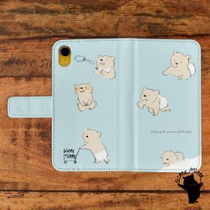 スマホケース 手帳型 全機種対応 おしゃれ 女性 アンドロイド iPhoneX iPhone8 iPhoneXR iPhone7 クマの赤ちゃん/Bitte Mitte!|casegarden