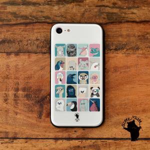 iPhone8 iPhone7 iphoneXs iPhoneXR iPhoneX 強化ガラスケース おしゃれ 女性用 qi対応 スマホケース 耐衝撃 動物 めがね 眼鏡 メガネアニマル/Bitte Mitte! casegarden