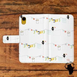 スマホケース 手帳型 全機種対応 おしゃれ 女性 アンドロイド iPhoneX iPhone8 iPhoneXR iPhone7 ねこ ネコ 猫の洗濯(干し)/Bitte Mitte casegarden