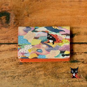 名刺入れ レディース おしゃれ 革 レザー 二つ折り 猫 名刺ケース 名入れ casegarden