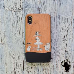 スマホケース 木製 iPhone 11 Pro ケース iPhone11 ケース カバー 天然木 iPhoneXR 桜/竹 iPhone XR ウッドケース きのこ 名入れ可|casegarden