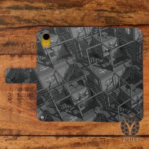 iphone8 ケース 手帳型 おしゃれ アイフォン8 ケース おしゃれ 手帳型 スマホケース iPhoneケース 和柄 和室 和風 四畳半パターン3Dグレー/YUHEI|casegarden