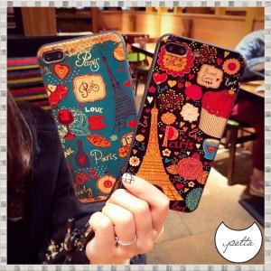 iPhone ケース カバー 7 8 Plus X XS XR XSMax 韓国 かわいい パリ 花...