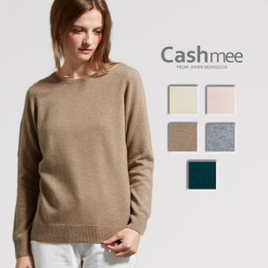 【全5色】 『Cashmee カシミヤ 100% ラウンドネック セーター/herbe 5color』ニット/レディース/ファッション/カシミヤ/カシミア/シンプル/ベーシック|cashmee