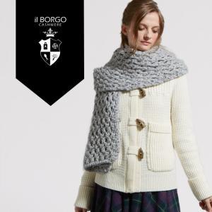 『IL BORGO カシミヤ100% ラグカシミヤストール/RAG-CASH Stole』/マフラー/レディース/メンズ/ファッション/カシミヤ/カシミア/大判/イタリア製|cashmee