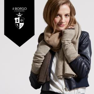 『IL BORGO カシミヤ100%トリコロールマフラー&アームウォーマー/TRICOLOLL MAFULLER&GROVES』マフラー/レディース/ファッション/カシミア/イタリア製|cashmee