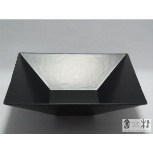 漆器 乾漆 角鉢 5寸 黒 鎌田克慈作 (サラダ 丼)|cast0217