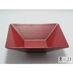 漆器 乾漆 角鉢 3寸 赤 鎌田克慈作 (取り鉢)|cast0217